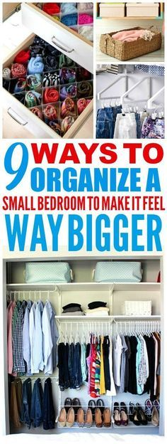 These 9 clever ways to organize a small bedroom are THE BEST! I'm so happy I found these AMAZING tips! Now I have some great ways to organize my bedroom and have it feel way bigger! Definitely pinning these small bedroom organization tips!