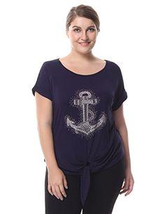 Chicwe Women's Top T-Shirt Rhinestone Motif & Knotted Hem Bust Disney Dream Cruise, Maternity Swimwear, Anchor, Plus Size, Amazon, Mens Tops, T Shirt, Fashion, Supreme T Shirt