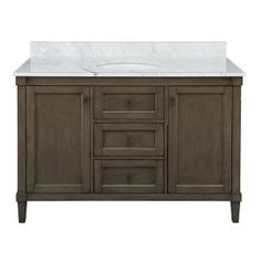 Home Decorators Collection Rosecliff 49 in. W x 22 in. D Vanity in Distressed Grey with Carrara Marble Vanity Top in White with White Sink - The Home Depot Basin Cabinet, Vanity Cabinet, Vanity Sink, Solid Wood Cabinets, Grey Cabinets, Farmhouse Vanity, Victorian Farmhouse, Marble Vanity Tops, Marble Top