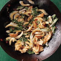In restaurants, stir-frying is done in extra-large woks over very high heat. To approximate the effect at home, don't crowd the meat in the pan, and make sure the wok and oil are nice and hot before you add the chicken.