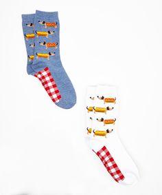 Davco Blue & White Hot Dog Crew Socks Set by Davco #zulily #zulilyfinds