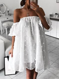 Shop Solid Off Shoulder Mesh Chiffon Dress – Discover sexy women fashion at IVRose Sexy Dresses, Cute Dresses, Casual Dresses, Fashion Dresses, Short Sleeve Dresses, Short Sleeves, Chiffon Dresses, Lace Maxi, Mini Dresses