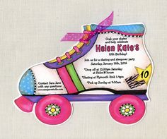 Personalized Girl Roller Skate Birthday by sarajanestudio