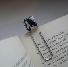 Raven on a Tree Branch  Giant Paperclip Bookmark made from an Upcycled Scrabble Tile by spiffycool, $9.95