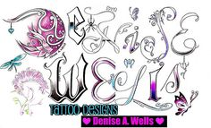 Denise Wells Tattoo Design in my own custom fonts I have made myself....I have been making tattoos now for 20 years and have been an artist for well over 30 years now. This design includes a variety of tattoo fonts and other unique tattoo ideas such as a Unicorn, butterfly, rose charm, black widow charm, cold blue heart charm, angel winged heart with a halo, stars, hearts, roses and leaves incorporated into the lettering.The following is a link to my Custom Tattoo Designs FAQ's Link…