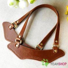 Imitation Leather Bag Handles - BROWN - 19.5cm x 20cm - HD18