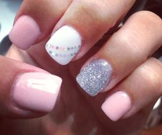 LOVE pink and silver! Cute for Winter! #WinterNails #PinkAndSilver #NailArt