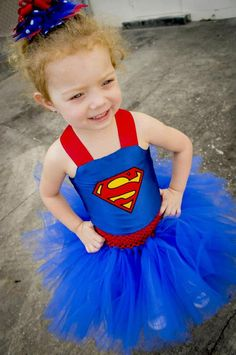 Superman Costume, Superman Tutu Dress, Satin Corset Top Toddler/Infant, 6-18 months, 2T, 3T, 4T