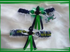 206638adaeda Notre Dame Wedding Garter Set w Green Boa by TheArtofSports, $30.00 Wedding  Garter Set,