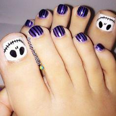 """skeleton on toe nails Awesome Halloween Toe Nail Art Designs For Horror Junkies!""--Christmas toe nail art for Tim Burton fans Simple Toe Nails, Pretty Toe Nails, Cute Toe Nails, Pretty Toes, Toe Nail Art, Love Nails, How To Do Nails, Style Nails, Striping Tape Nail Art"