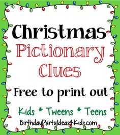 Christmas Pictionary game with 50 free printable clues. Fun group game for Christmas parties, family gatherings, birthday or classroom parties. Xmas Games, Holiday Party Games, Holiday Activities, Holiday Parties, Fun Games, Group Games, Crazy Games, Trivia Games, Party Activities