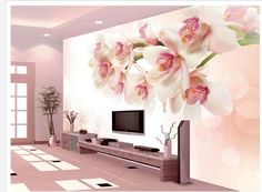 Custom pink wallpaper, lily flower wall murals for the living room bedroom TV wall waterproof Embossed papel DE parede Bedroom Background Wallpaper, Wallpaper Flower, Room Wallpaper, Photo Wallpaper, Pink Wallpaper, Wallpaper Roll, Mural Floral, Flower Mural, Wallpaper Designs For Walls