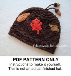 PDF KNITTING PATTERN - Baby Hat Knitting Pattern - Autumn Leaves Beanie (Newborn Infant Toddler Child sizes)  Children Fall Knitting Pattern
