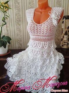 Vestido Crochet Saia com Babados - Claudineia Antunes