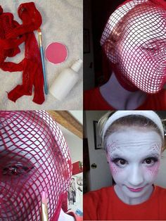 You need: your skin prepared blush or eyeshadow of the color of the scales 2 brushes (not too small, I took those with a squared head) Bodypaint  Wig cap water spray. Put on the blush with a brush. It has to be quite light beause if it's too pronounced the scales won't stand out enough. Put your head into the fishnet tights or wig cap. Spray your bodypaint and use the second brush to take the color and tap it on your skin. Wait until the paint is dry and remove the tights or wig cap.