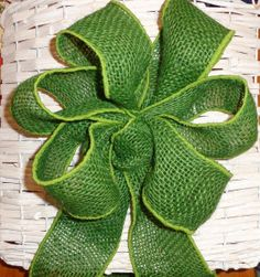 Green Apple Burlap gift bow, wreath bow package decoration, buffet table decor
