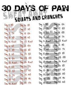 Squats and Crunches  http://30dayfitnesschallenges.com/classes/30-day-crunch-challenge/