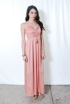 ae60e45d2c 70s Glam Maxi Dress Apricot 1970s Disco Ruched Peach Evening Maxi Gown XS S