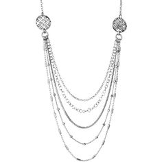 Sterling Silver Italian Multi-Strand and Multi-Chain Style Necklace,... ($69) ❤ liked on Polyvore featuring jewelry, necklaces, sterling silver necklace, multi strand necklace, multiple strand necklace, layered chain necklace and sterling silver multi strand necklace