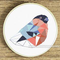 Modern cross stitch pattern Bullfinch cross by galabornpatterns