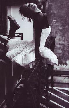 Its like a tutu dress! (A little darker side of) Sasha Pivovarova by Willy Vanderperre