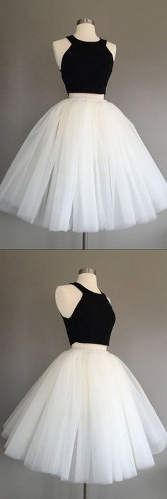 Buy Ivory Tulle Halter Knee-Length Two Piece Sleeveless Homecoming Dress,Cheap Prom Dresses Short,Graduation Dress,Short Prom Dresses at www.simidress.com