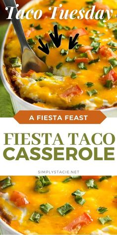 Fiesta Taco Casserole - A fun twist on Taco Tuesday! This easy casserole has all the ingredients we love about tacos, baked together in one convenient baking dish – quick to make and quick to clean up!