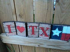Wooden Blocks Decor Rustic Chic I Love Texas Flag Sings Sittres Shelf Plaques