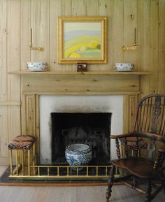 Tone on Tone: A Comfortable Home Enlivened with Art - wormy chestnut paneled library, English antiques, Roger Muhl painting