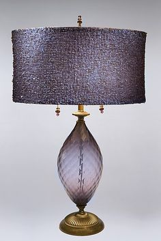 Nicole: Caryn Kinzig and Susan Kinzig: Mixed-Media Table Lamp - Artful Home Unique Lamps, Unique Lighting, Home Lighting, Lighting Design, Purple Lamp, Purple Table, Purple Rooms, I Love Lamp, Chandelier Lighting