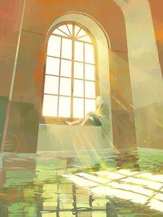 3 days march: a portfolio of illustration and more by Loika (Yan Qin Weng). Pretty Art, Cute Art, Fantasy Landscape, Fantasy Art, Wallpaper Animes, Image Manga, Environment Concept Art, Anime Scenery, Environmental Art