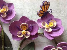 Вот и решилась, наконец, на орхидею, давно хотела сделать, спасибо огромное Анастосии Бертовой за ее орхидеи и мастер классы, кашпо из зубочисток, орхидеи и бабочка из полосок 1,5 мм (режу полоски 3 мм пополам).  фото 1