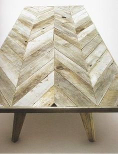 The pattern on this rustic wood table inspired our new Painted Chevron duvet set.