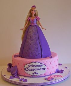 I made this for a tangled themed party. Rapunzel came in person to play with Cassandra at her party too :o) cake Bolo Rapunzel, Rapunzel Birthday Cake, Disney Princess Birthday Cakes, Doll Birthday Cake, Tangled Birthday Party, Princess Rapunzel, Baby Cakes, Girl Cakes, Bolo Barbie