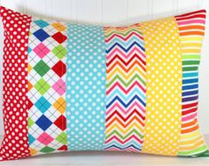 Nursery Pillow Cover Patchwork Pillow Cover by theredpistachio