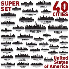 Incredible City Skyline Set. 40 City Silhouettes Of United States.. Royalty Free…