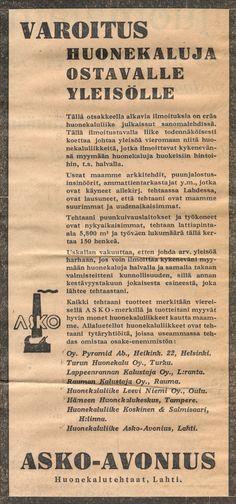 Varoitus huonekaluja ostavalle yleisölle - Askon vanha lehtimainos vuodelta 1932