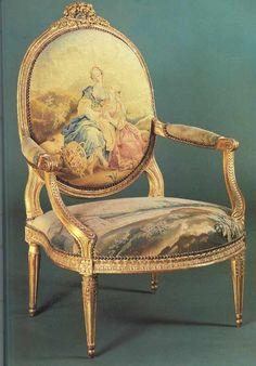 Fauteuil d'époque Louis XVI estampillé Poirié.