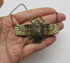 Statement Brass ox scarab beetle necklace, Egyptian scarab beetle, pendant necklace