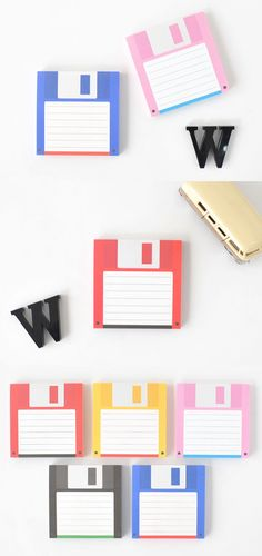 Floppy Disks aren't used anymore these days, but the look of floppy disk makes a really fun and quirky memo pad! These colorful memo pads look great and are wonderful to write your memo with!