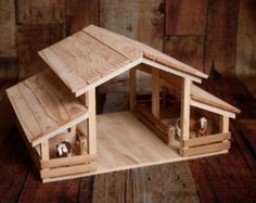 Handmade Wood Toy Barn for Farm Animals by E-S Farm Toys Popsicle Stick Houses, Popsicle Stick Crafts, Craft Stick Crafts, Wood Crafts, Wooden Toy Barn, Wood Projects, Woodworking Projects, Handmade Wooden Toys, Farm Toys