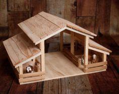 Establo de juguete de madera hecho a mano con 8 por ESFarmToys