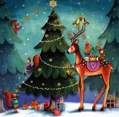 Christmas post card by Mila Marquis Christmas Scenes, Christmas Deer, Christmas Images, Christmas Greetings, Christmas Crafts, Merry Christmas, Christmas Decorations, Christmas Graphics, Art Et Illustration