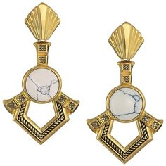 House of Harlow 1960 Patolli Dangle Earrings (Gold/Howlite) Earring (99 CAD) ❤ liked on Polyvore featuring jewelry, earrings, drop earrings, dangle post earrings, gold jewelry, gold earrings and gold post earrings