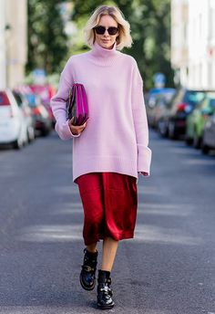 The key to this look? Layers, layers and more layers. Start with your trusty slip dress and clash it good with an oversized pink roll neck for a casj nod to one of AW16's biggest trends (80s, baby). Finish with comfy patent boots and a hot-pink clutch
