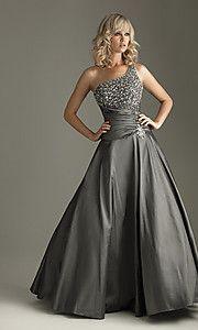 beautiful grey floor length one shoulder dress, love the beading!