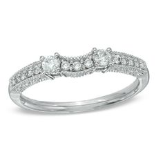 1/4 CT. T.W. Diamond Vintage-Style Contour Wedding Band in 14K White Gold - View All Rings - Zales