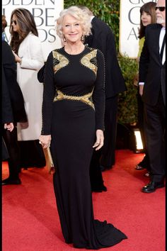 What: Alexander McQueen Where: Golden Globe Awards in 2013 Why: Mirren proves you can be fabulous at any age in this modern McQueen gown.   - HarpersBAZAAR.com