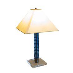 Carlo Moretti Blue Murano Glass Lamp Signed on Chairish.com