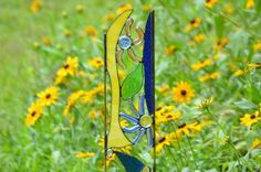 Stained Glass, Yard Art, Garden Art, Garden Decor, Happy Glass Gardener, 'Whirligig'